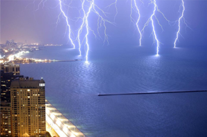 long exposure of lightning near a city