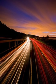 long exposure photography of a highway